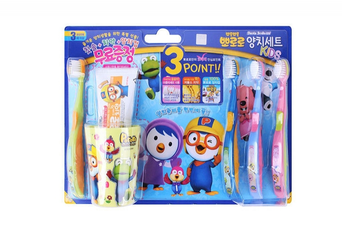 PORORO brushing teeth cup SET (brush 4p + cup 1 + toothpaste 1 )